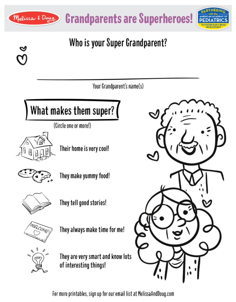 Printable - Grandparents are Superheroes Activity
