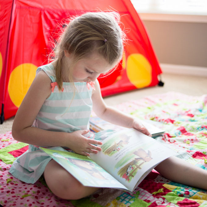 Camping-themed reading picnic for kids