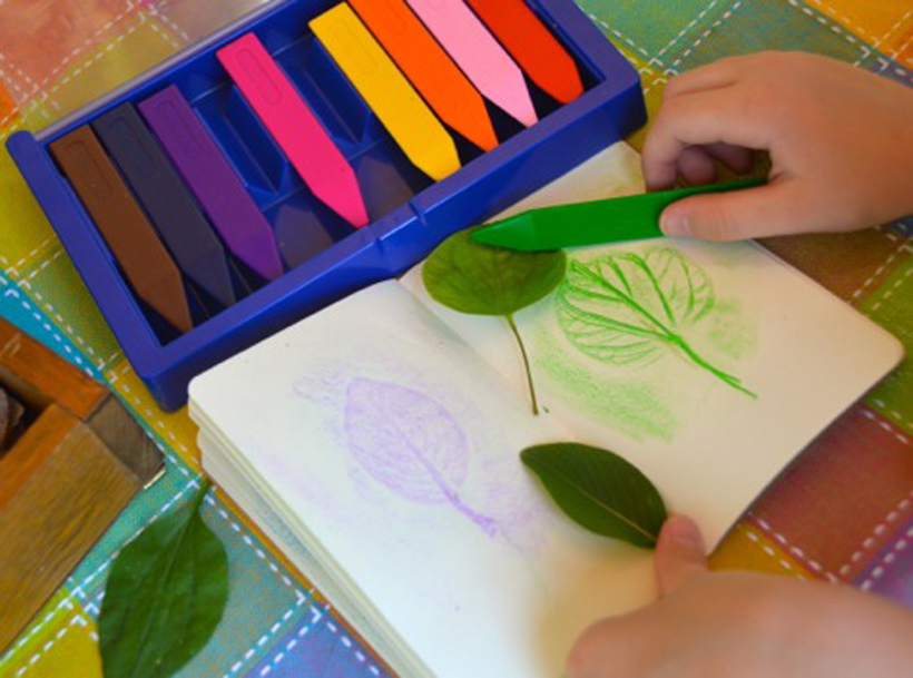 Celebrate Fall Round Up Leaf Rubbings on the go