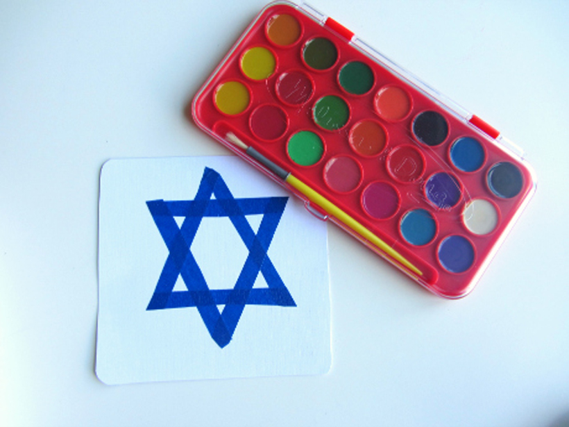 toddler hanukkah craft watercolors and star of David