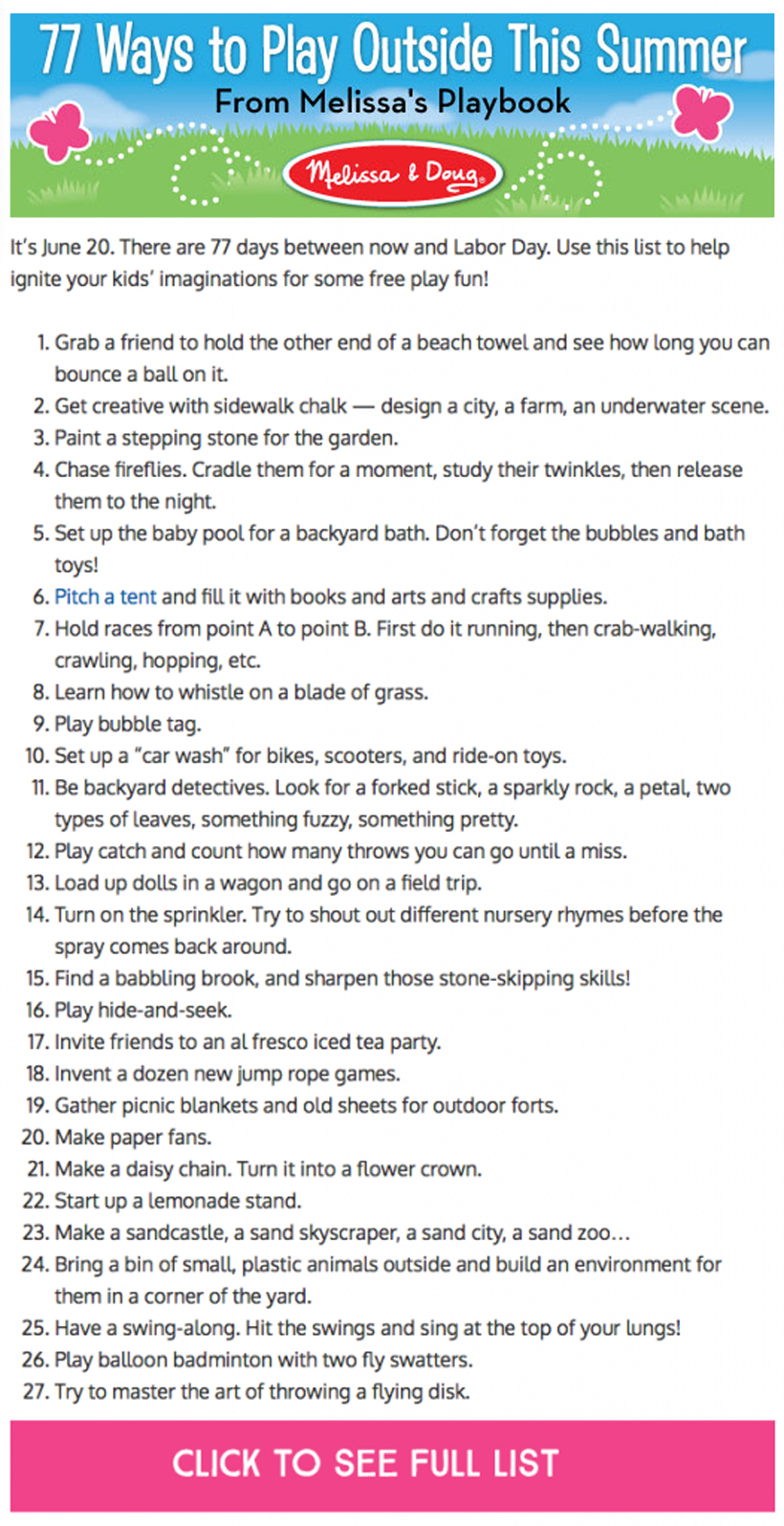 Melissa's Playbook 77 ways to play outside this summer printable