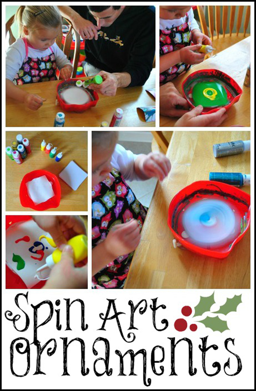 Spin Art Ornaments Craft Collage
