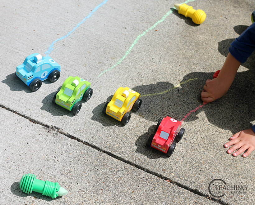 toddler race car counting finishing the track
