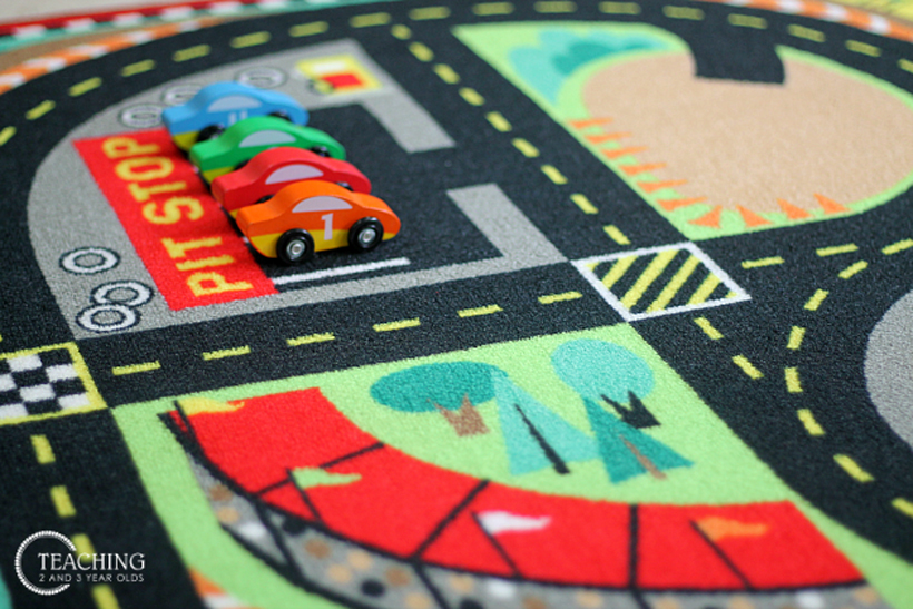 toddler race car counting activity rug set