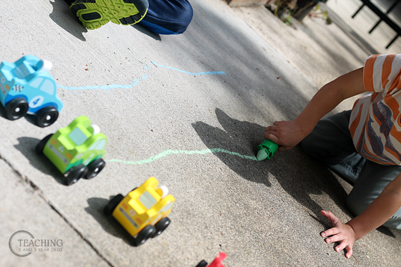 toddler race car counting drawing the track