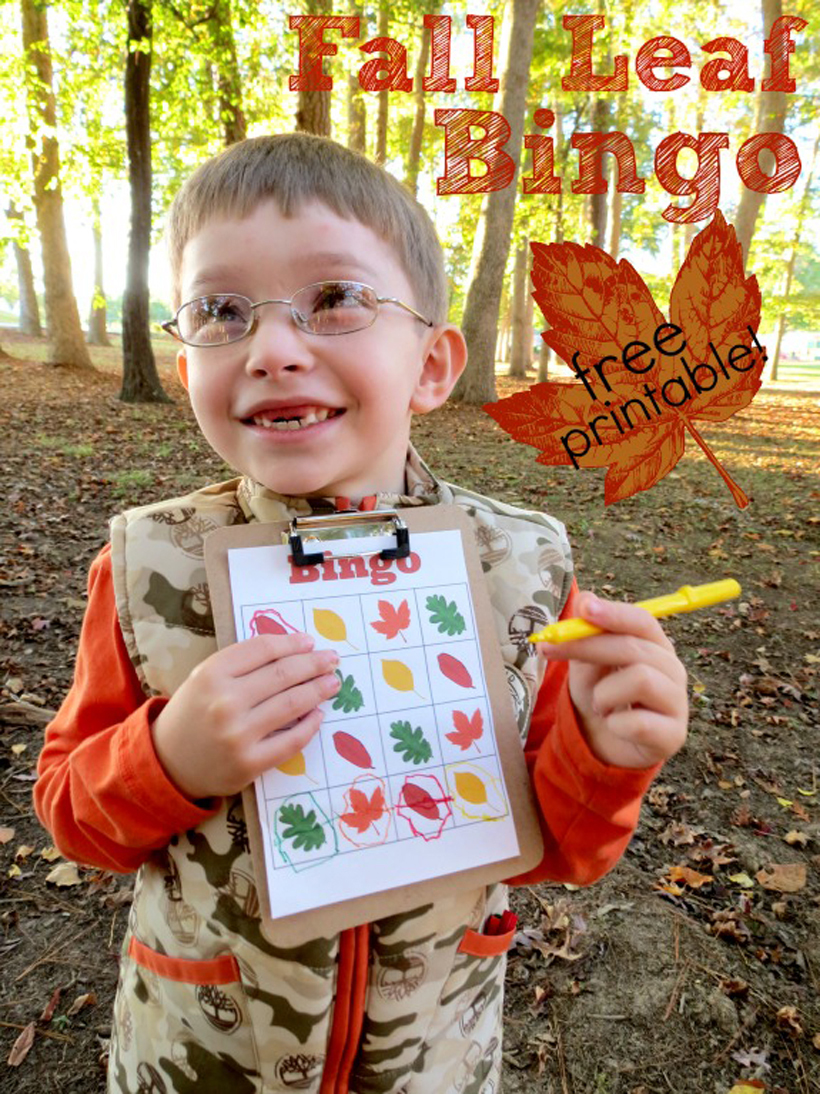 "Fall Leaf Bingo: A Free Printable Family Game *Whether indoors or out, kids will love yelling out ""BINGO"" with this fall-themed game on the Melissa & Doug Blog."