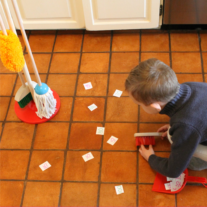 Sweeping Up ABCs and Numbers: A Game for Kids!