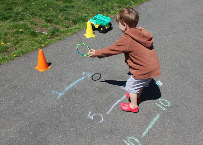 7 Sidewalk Games for Kids *Get kids outside for active and creative play with a set of 8 Melissa & Doug activity cones and colorful durable sidewalk chalk.