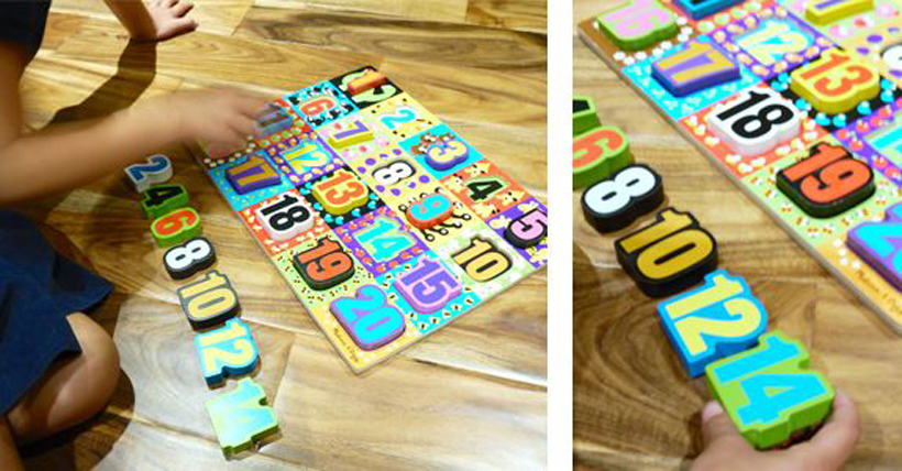 4 Early Math Concepts Using Puzzles * The Melissa & Doug Jumbo Chunky Numbers Puzzle can help your child with these 4 early math concepts and can be used for other creative learning fun activities.