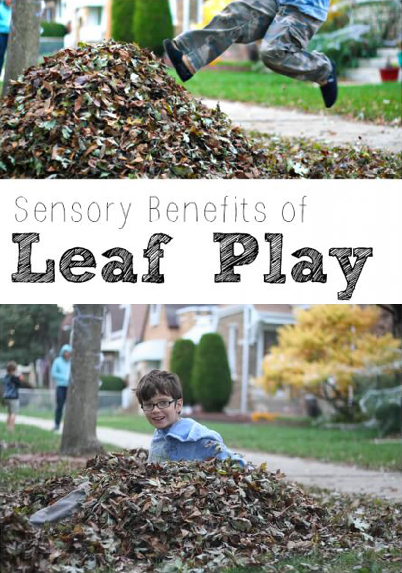 4 Sensory Benefits of Leaf Play: Outdoor Fall Activities *Read about 4 sensory benefits found from a romp in your best pile of leaves this fall with fall gardening tools for kids on the Melissa & Doug Blog.