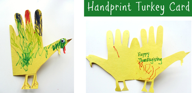 Easiest Ever Handprint Turkey Craft & DIY Thank You Cards *See how kids can make simple diy turkey handprint thank you cards this fall and Thanksgiving on the Melissa & Doug Blog.